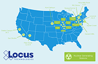 Map of Locus customers in the nuclear industry